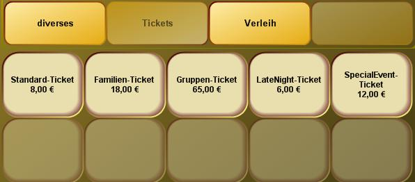 Ticketartikel in der Kassenfront von PosBill Version 8