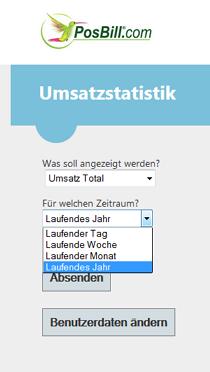 PosBill Air - Übersicht und Auswahl Umsatzstatistik