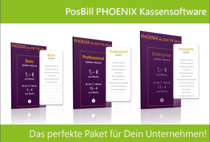 PosBill PHOENIX - Wähle aus drei unterschiedlichen Tarifen aus.