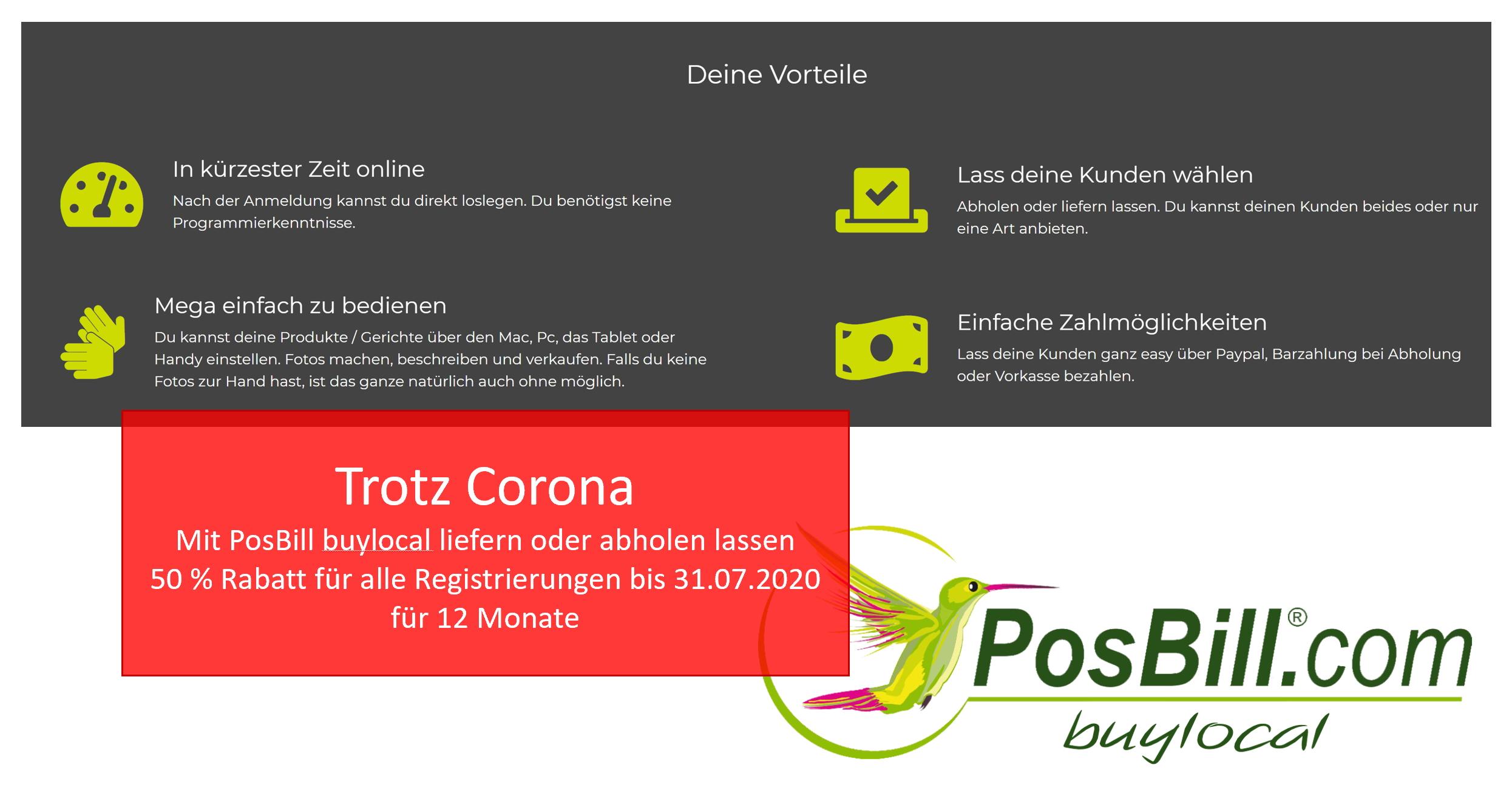 Trotz Corona geschäftsfähig bleiben - mit PosBill buylocal