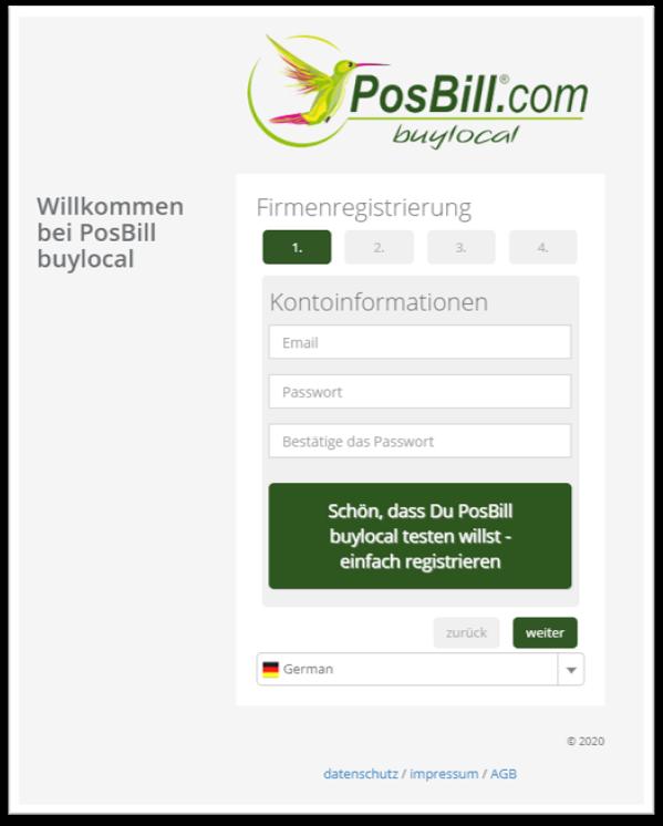 PosBill buylocal: Kostenfrei registrieren und testen