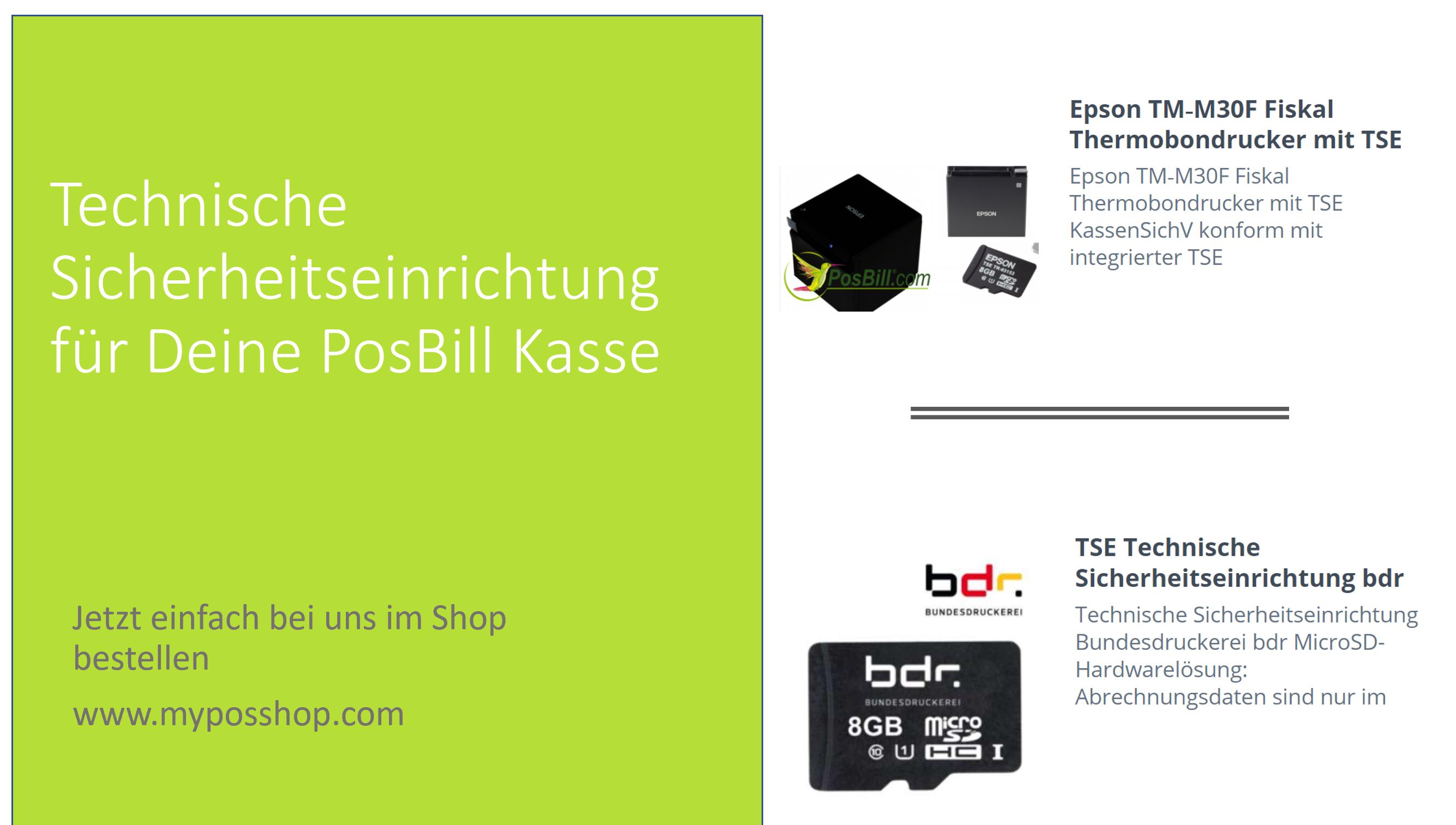 Technische Sicherheitseinrichtung für Deine PosBill Kasse